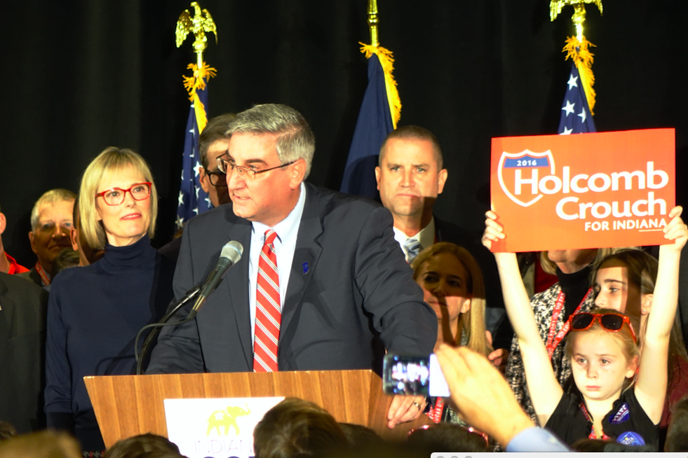 GOP Indiana Lt. Governor Eric Holcomb beat challenger John Gregg to become the next governor. Holcomb talks at the Indiana GOP election watch party at the JW Marriot in Indianapolis. (Eric Weddle/WFYI)