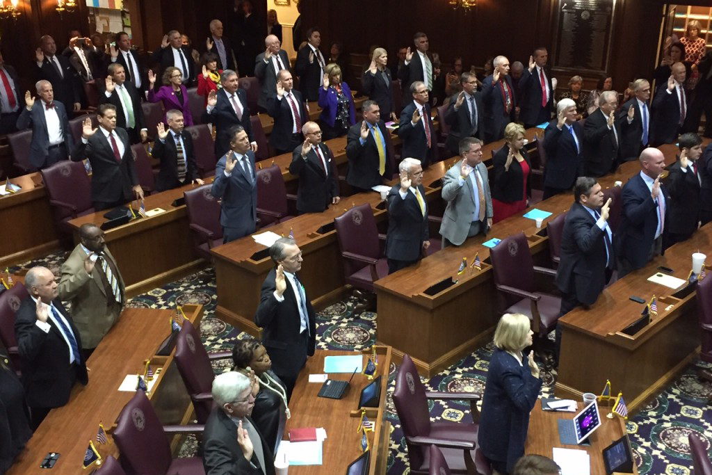 Indiana House legislators are sworn in together at the ceremonial gathering known as Organization Day.