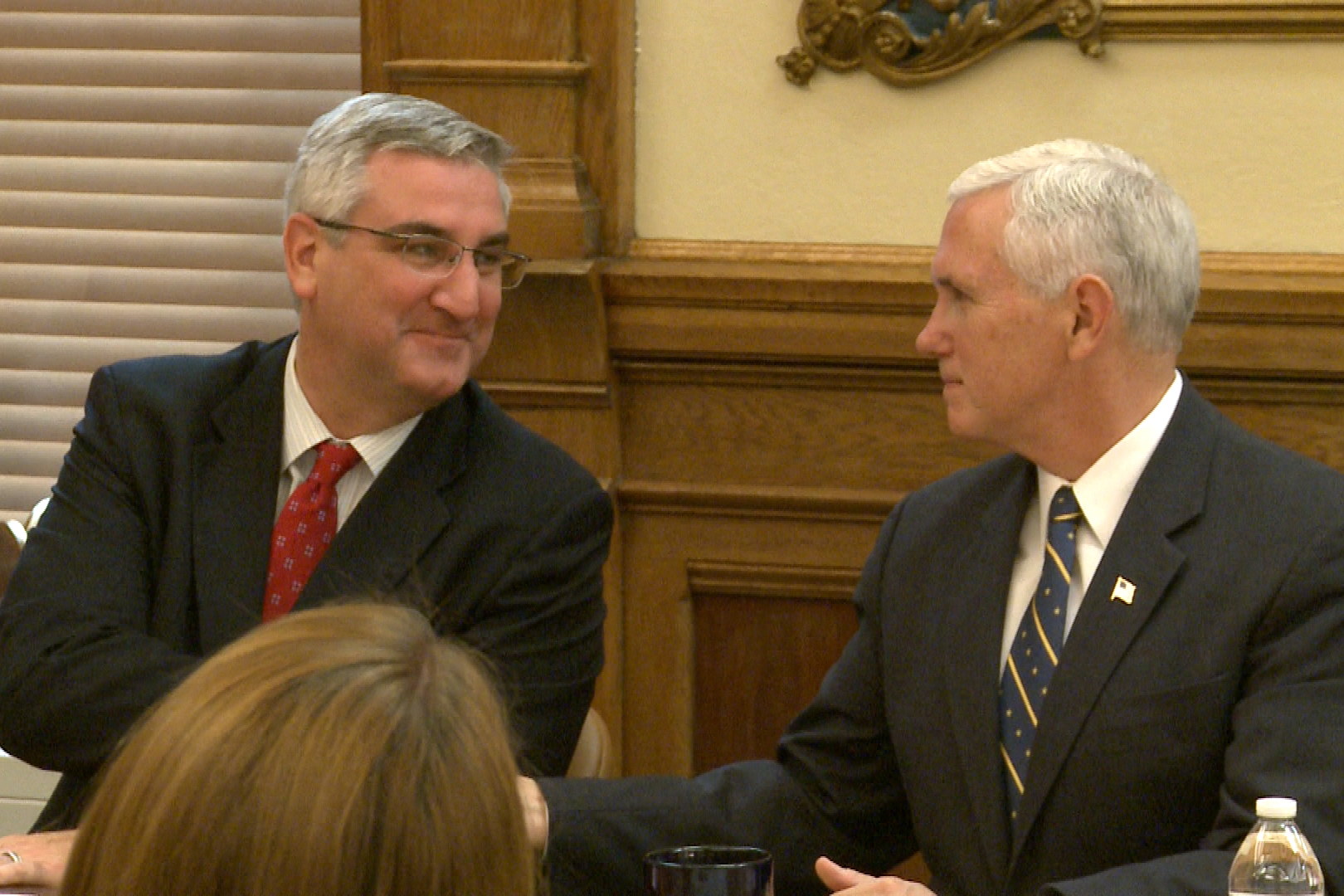Holcomb met with Pence Wednesday in Washington.  (WFIU/WTIU File Photo)