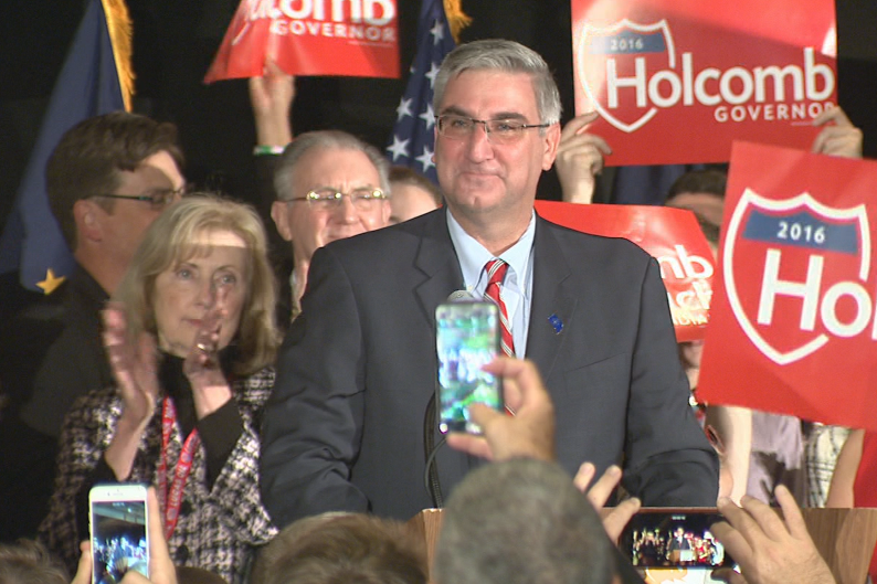 Eric Holcomb makes his acceptance speech after winning the Indiana gubernatorial race against Democrat John Gregg.
