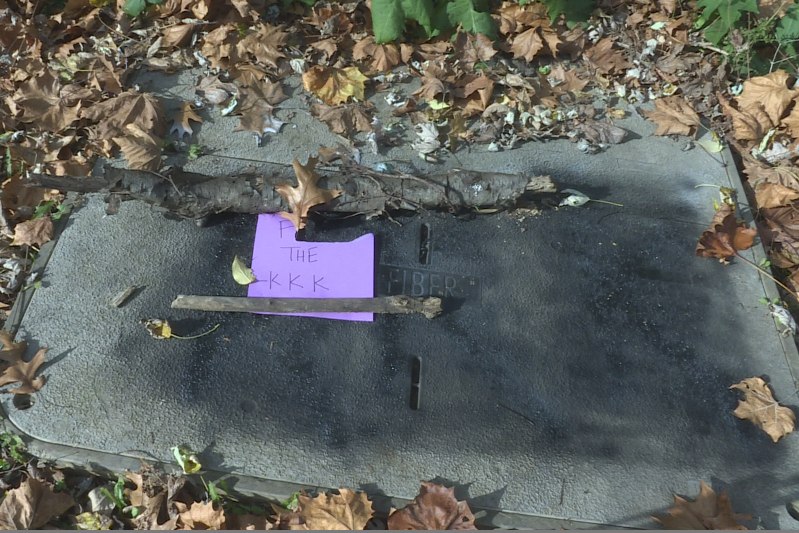 "A vandal painted swastikas and the letters ""KKK"" along the B-line trail in Bloomington."