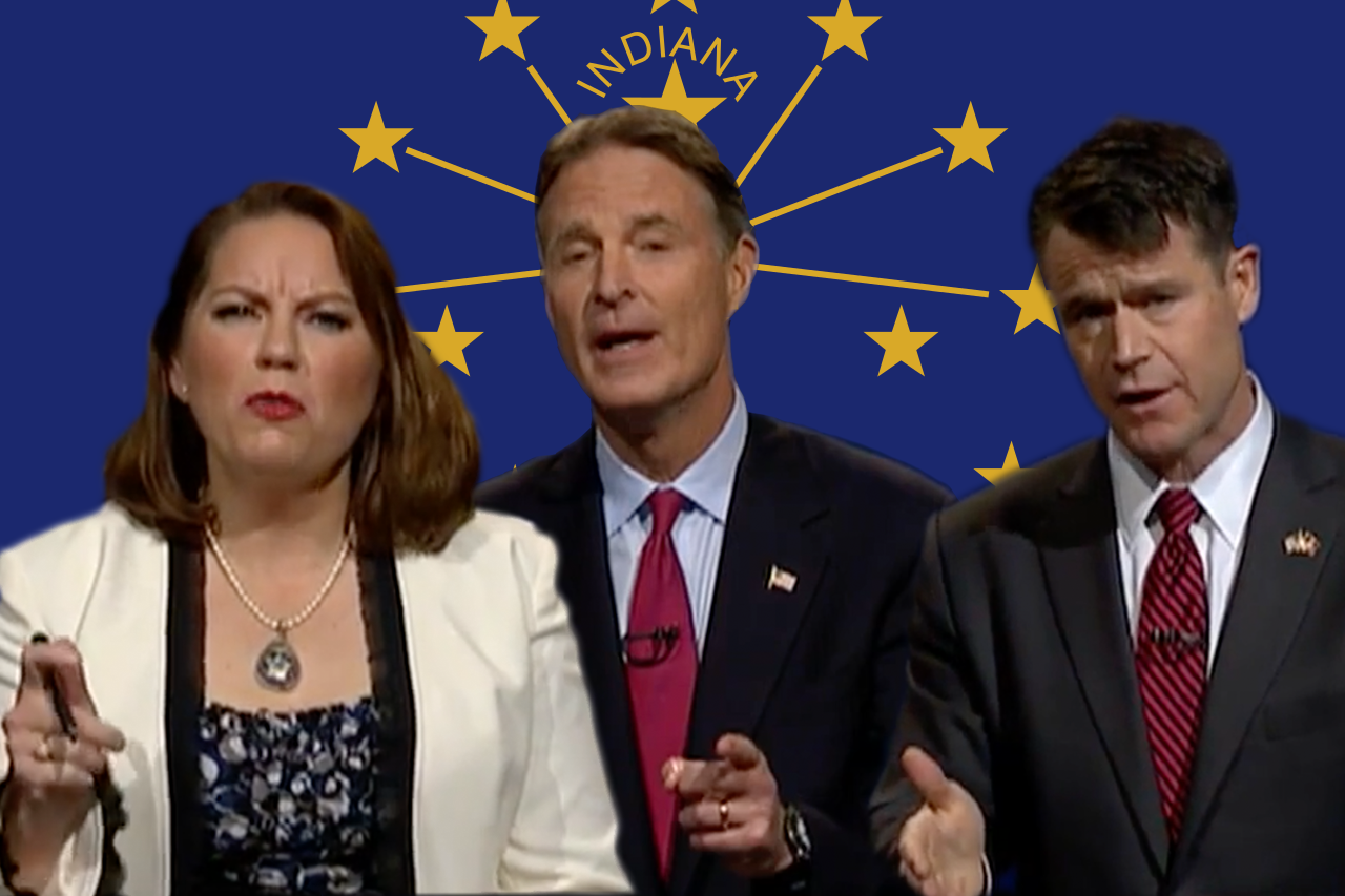 From left: Libertarian candidate Lucy Brenton, Democratic candidate Evan Bayh, Republican candidate Todd Young.