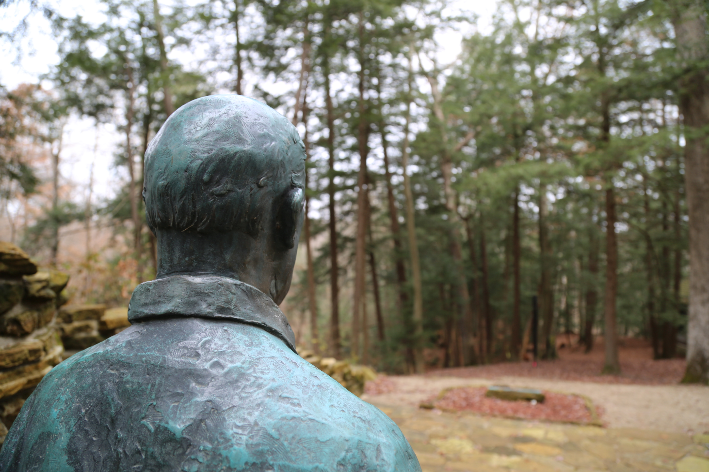 The Richard Lieber memorial at Turkey Run State Park. Lieber is considered the founder of the Indiana State Parks.