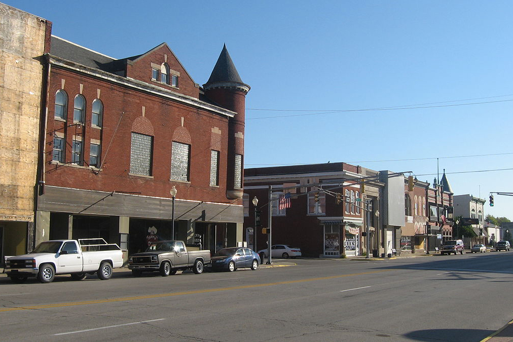 Buildings on the northern side of Main Street (U.S. Route 40) on both sides of its Jefferson Street intersection in Knightstown, Indiana, United States.