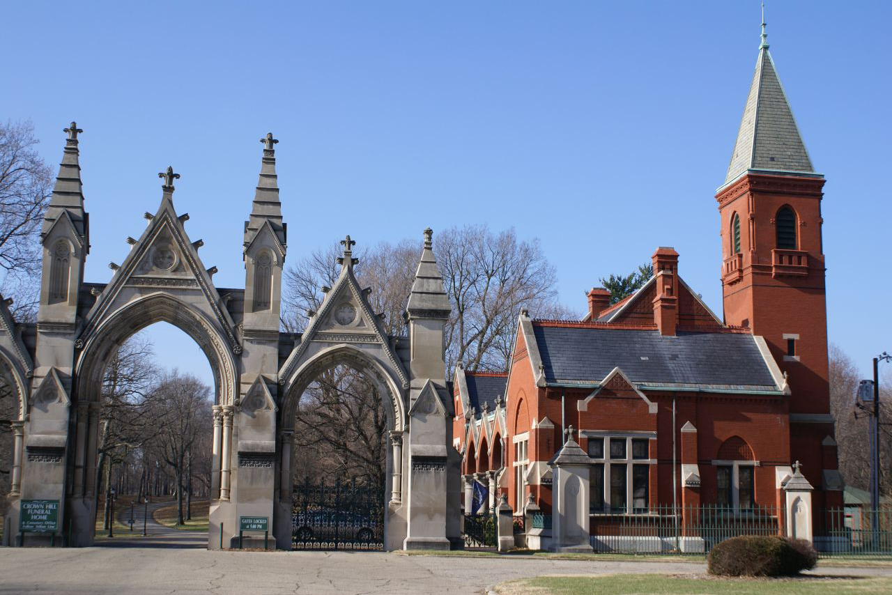 Entrance to the Crown Hill Cemetery in Indianapolis.
