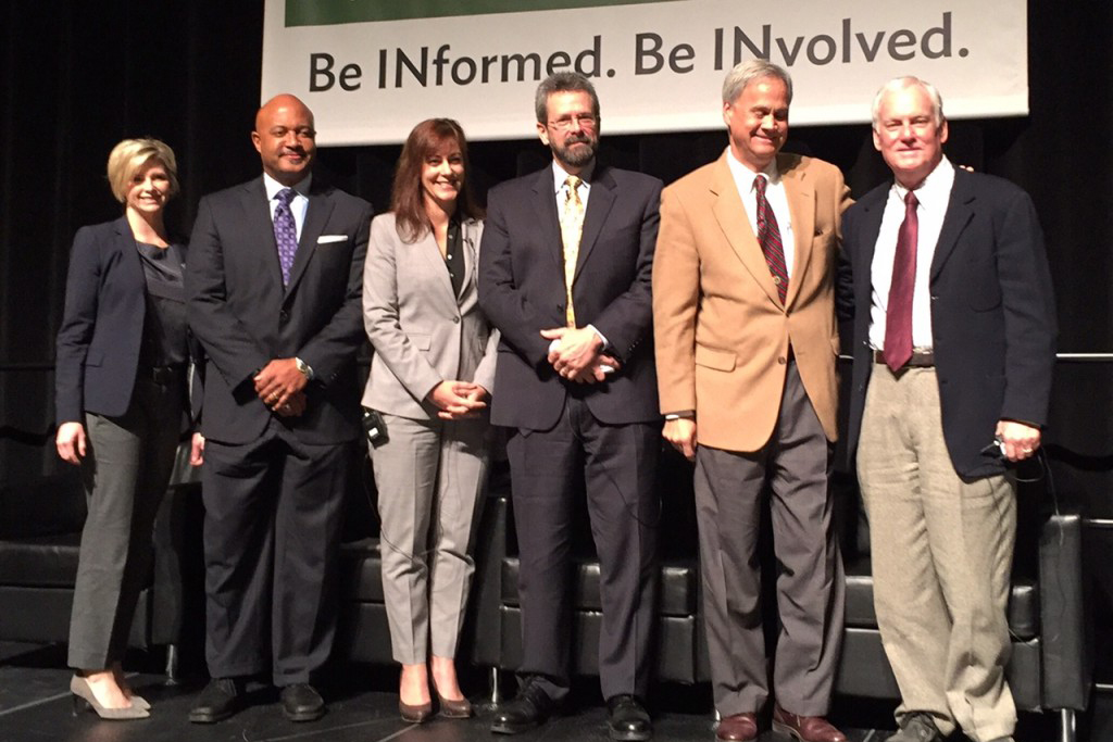 Attorney General-elect Curtis Hill (second from left) with a panel of experts on Indiana's drug epidemic.