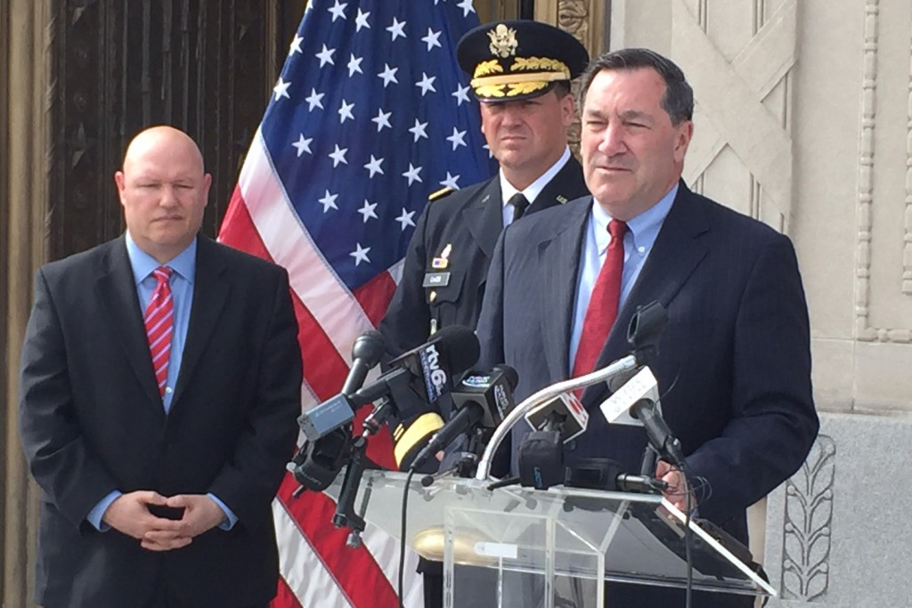 U.S. Senator Joe Donnelly (D-Indiana) discusses his servicemember mental health package during a 2016 press conference at the Indiana War Memorial.