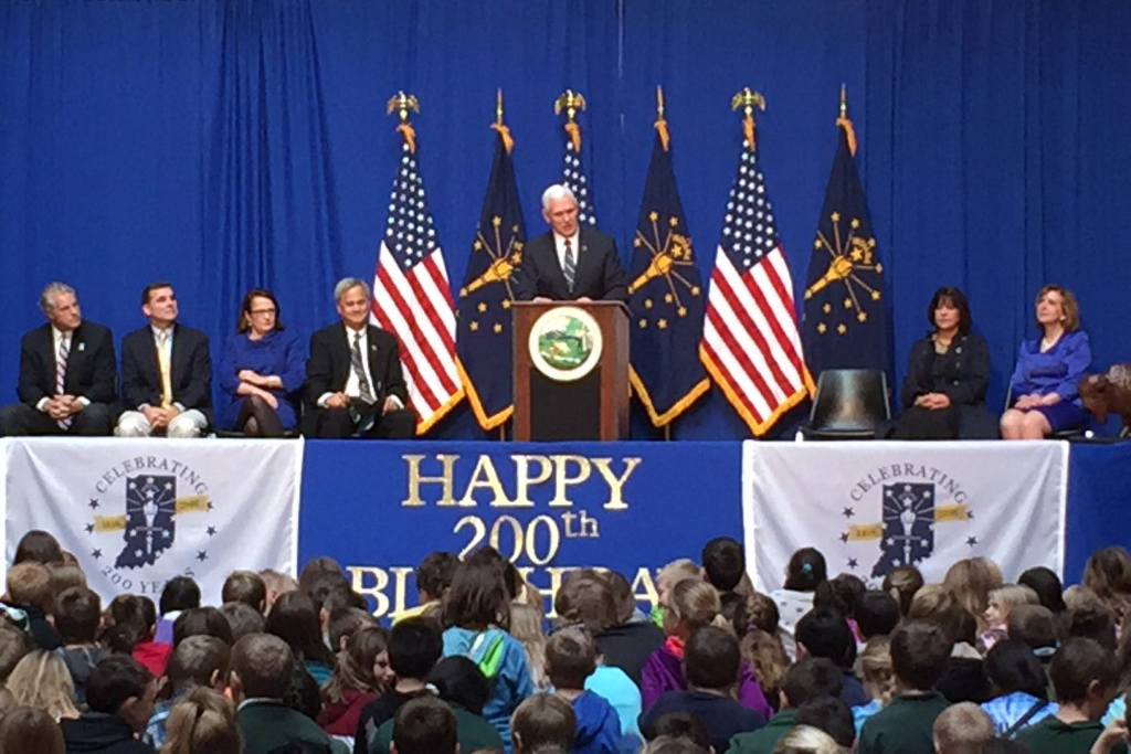 Governor (and Vice President-elect) Mike Pence speaks to students from around Indiana during the Bicentennial Statehood Day celebration at the Statehouse.