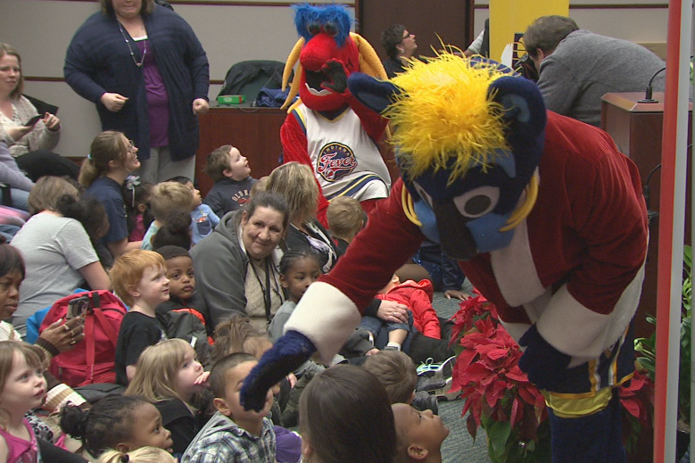 The Pacers and Fever mascots were on hand to help pass out toys to kids in Bloomington.