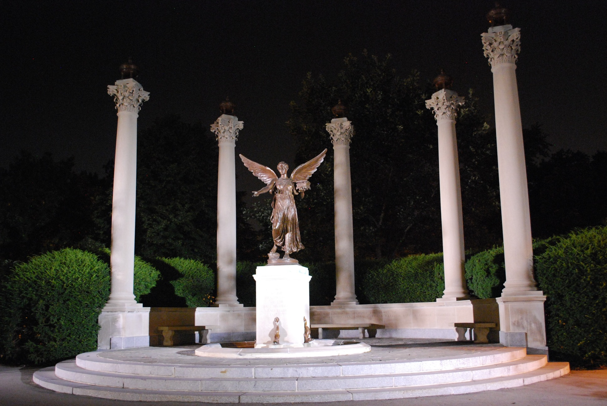 Beneficence and colonnade at night (Ball State University)