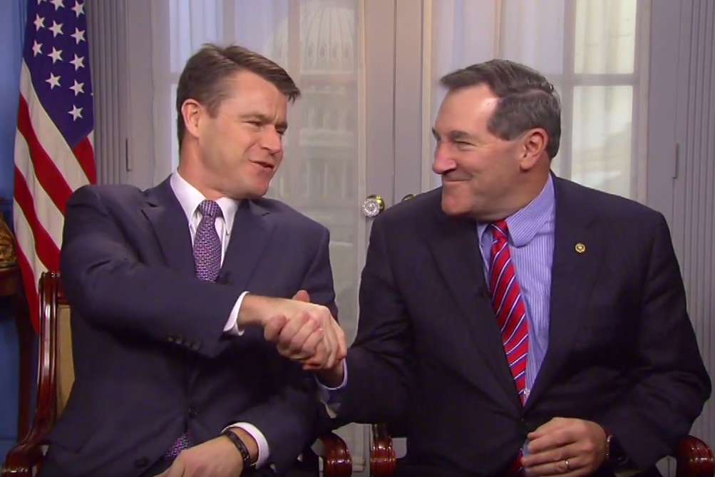 """Senators Todd Young (R) and Joe Donnelly (D) in a video announcement about the federal government's decision to call Indiana residents """"Hoosiers."""""""