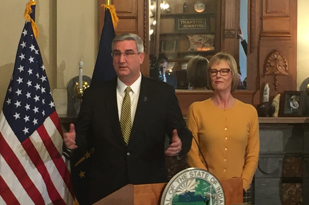 Governor-elect Eric Holcomb, with Lieutenant Governor-elect Suzanne Crouch at his side, discusses his agenda for the 2017 legislative session.