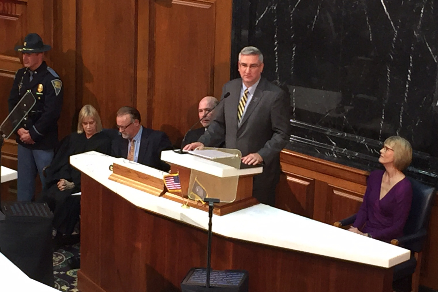New Indiana Gov. Eric Holcomb delivers his first State of the State address on Jan. 17, 2017. In his address, Holcomb outlined five goals for his administration including road funding and preschool.