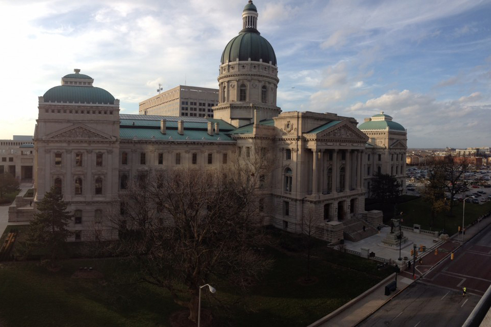 The Indiana Statehouse in downtown Indianapolis.