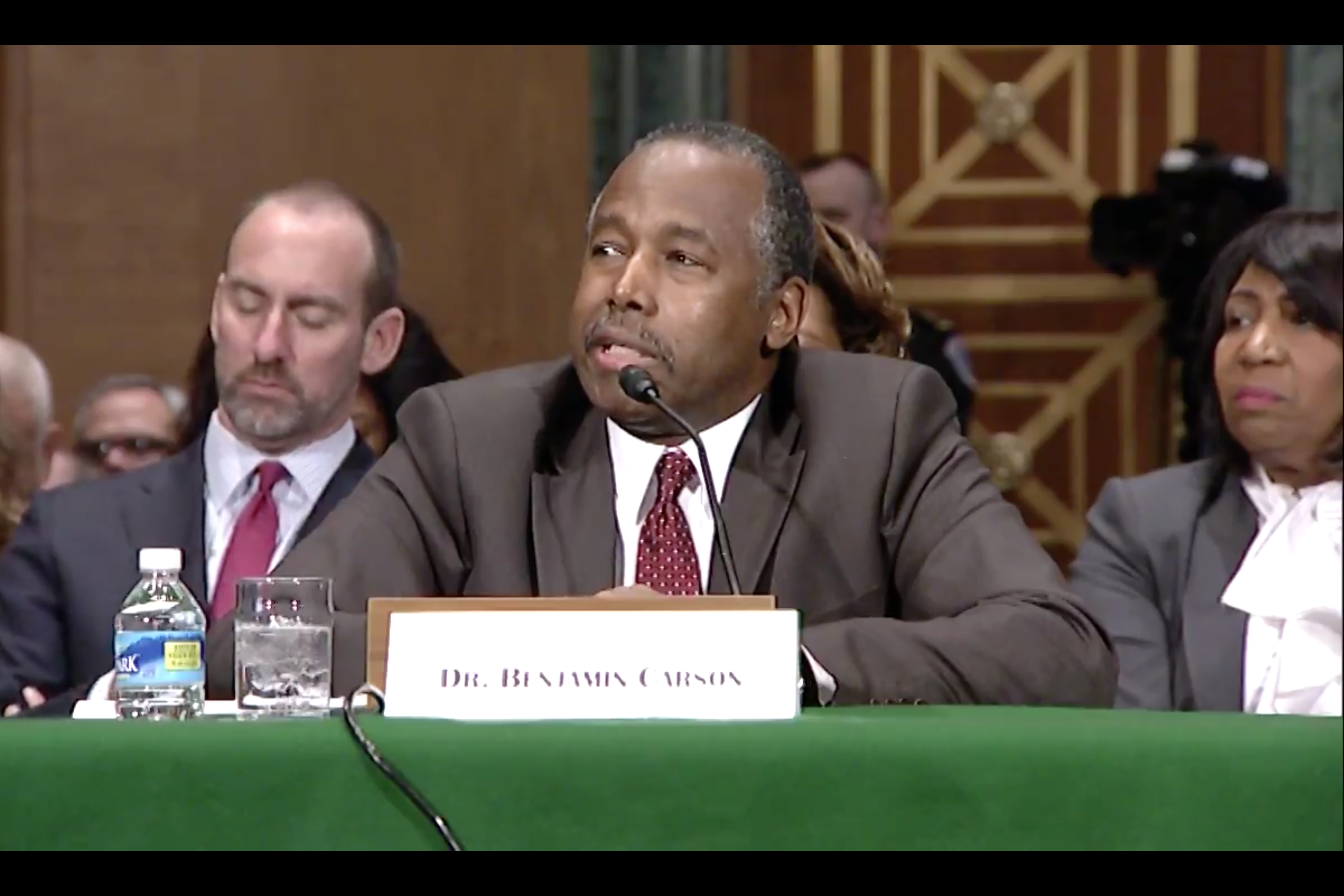 Dr. Ben Carson responds to Indiana U.S. Sen. Joe Donnelly at his confirmation hearing to lead the federal Department of Housing and Urban Development.