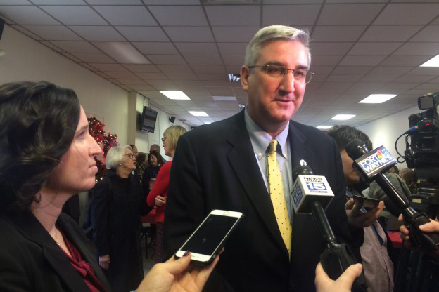 Auditor Tera Klutz and Gov.-elect Eric Holcomb interviewed by reporters