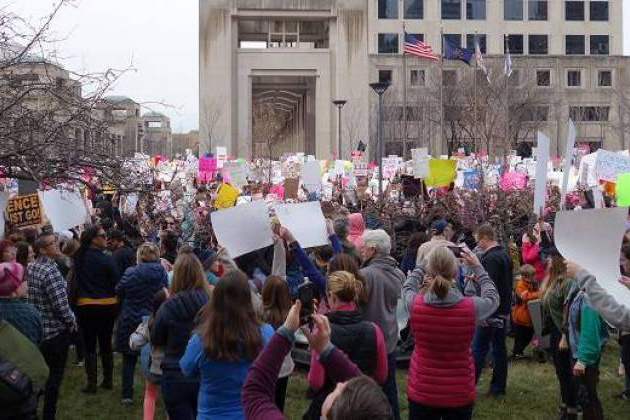 Organizers estimate more than 10,000 people participated in the Women's March in Indianapolis.