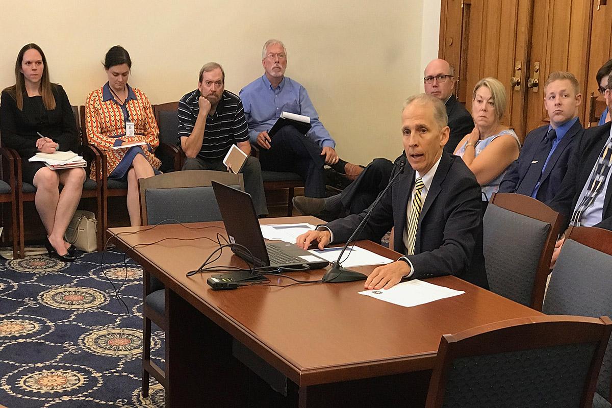 Jim McGoff, environmental programs director for the Indiana Finance Authority, testifies before the interim environmental affairs legislative committee.