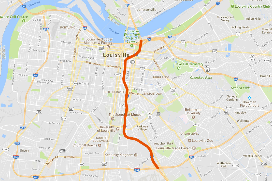 About a six-mile section I-65 South in Louisville will be closed this weekend.