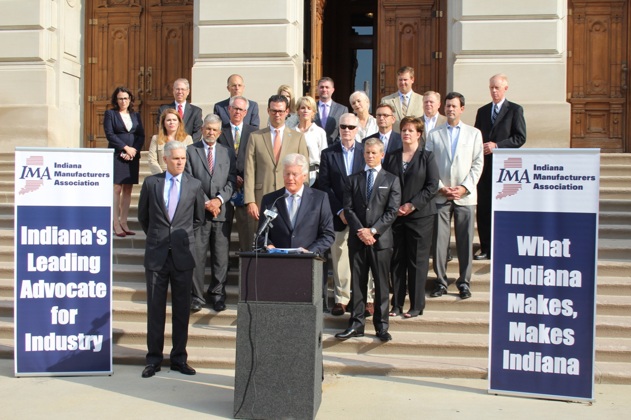 Indiana Manufacturers Association president Brian Burton laid out the industry's 2018 legislative priorities alongside Hoosier factory executives at the Statehouse Thursday.