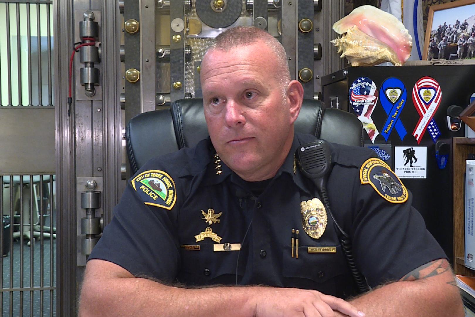 Terre Haute Chief of Police John Plasse at his desk in the Terre Haute Police Department.