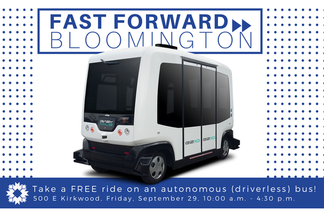 An EZ10 bus from EasyMile will take several trips down Kirkwood Ave. on Friday.