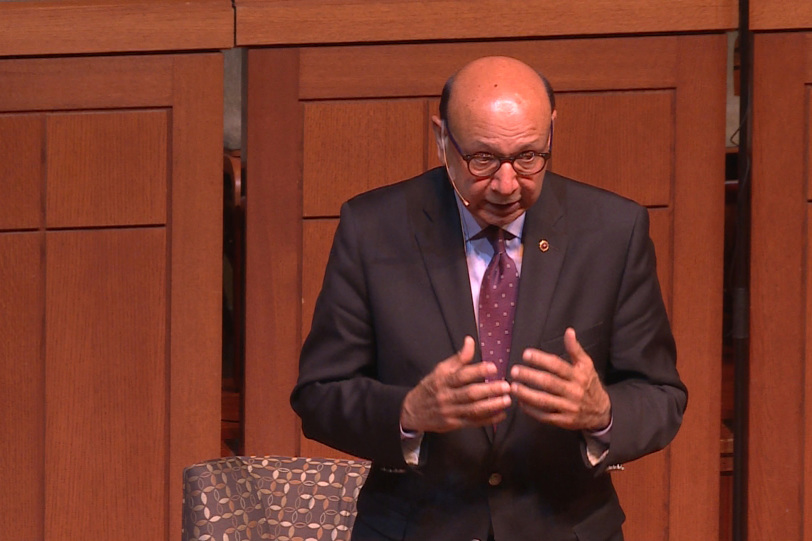 Khizr Khan speaks a message of peace and unity to a crowd of hundreds in Indianapolis Saturday night.