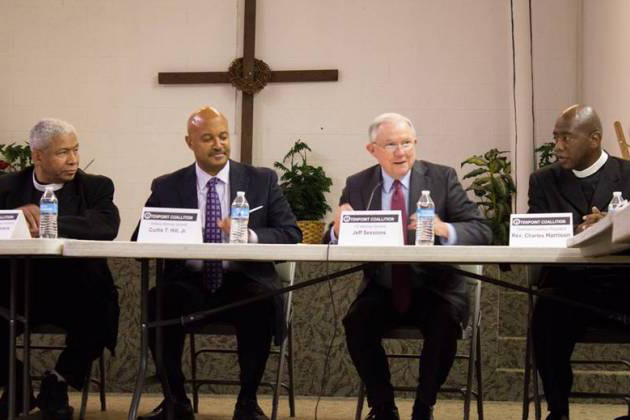 From left to right: Rev. Eugene Rivers, Indiana Attorney General Curtis Hill, U.S. Attorney General Jeff Sessions, Rev. Charles Harrison.