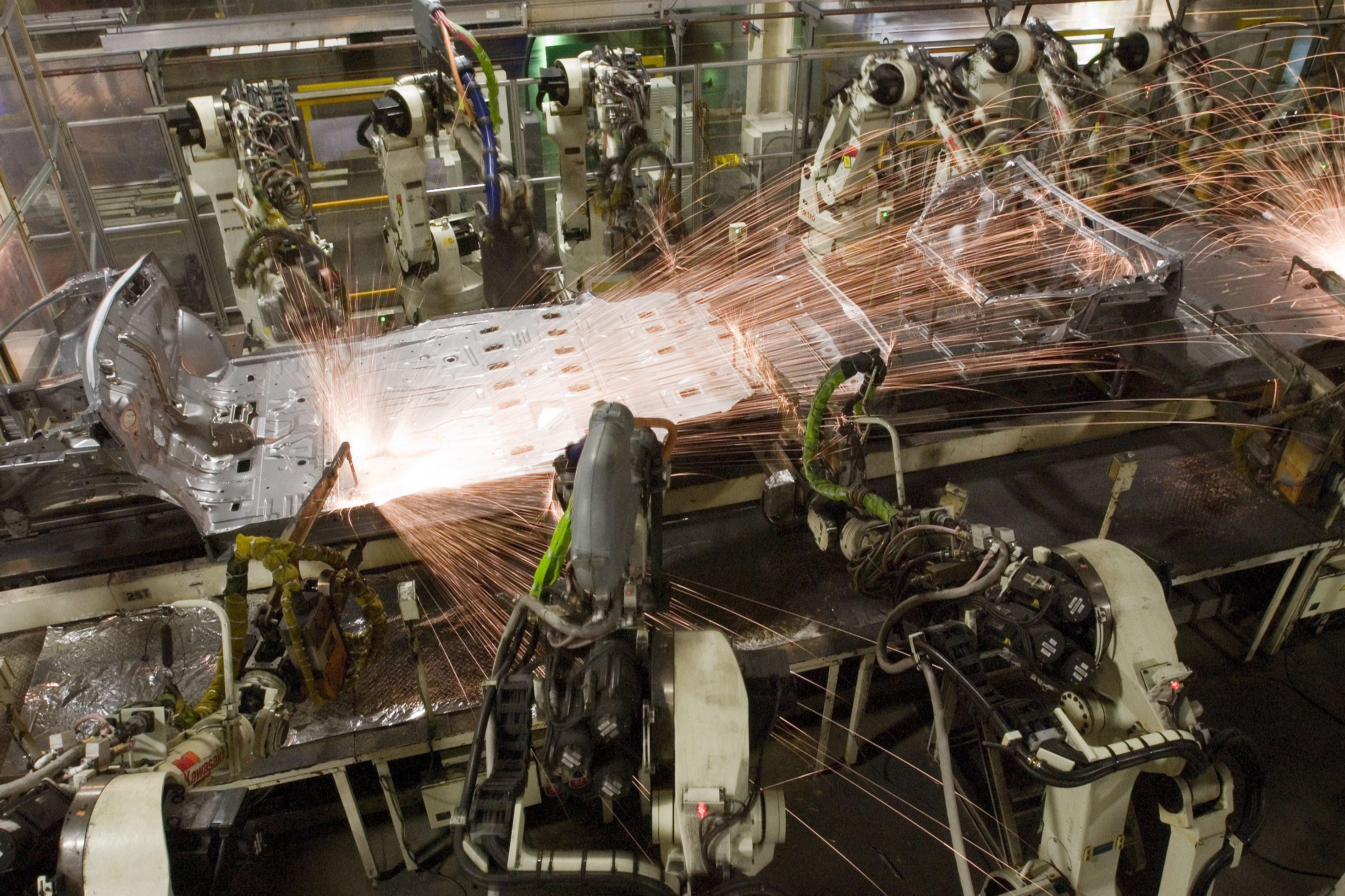 Robots assemble a vehicle at Toyota Motor Manufacturing Indiana in Princeton.