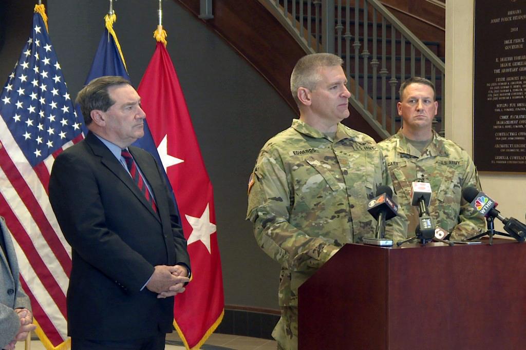 Major Scott Edwards speaks at the Indiana National Guard.