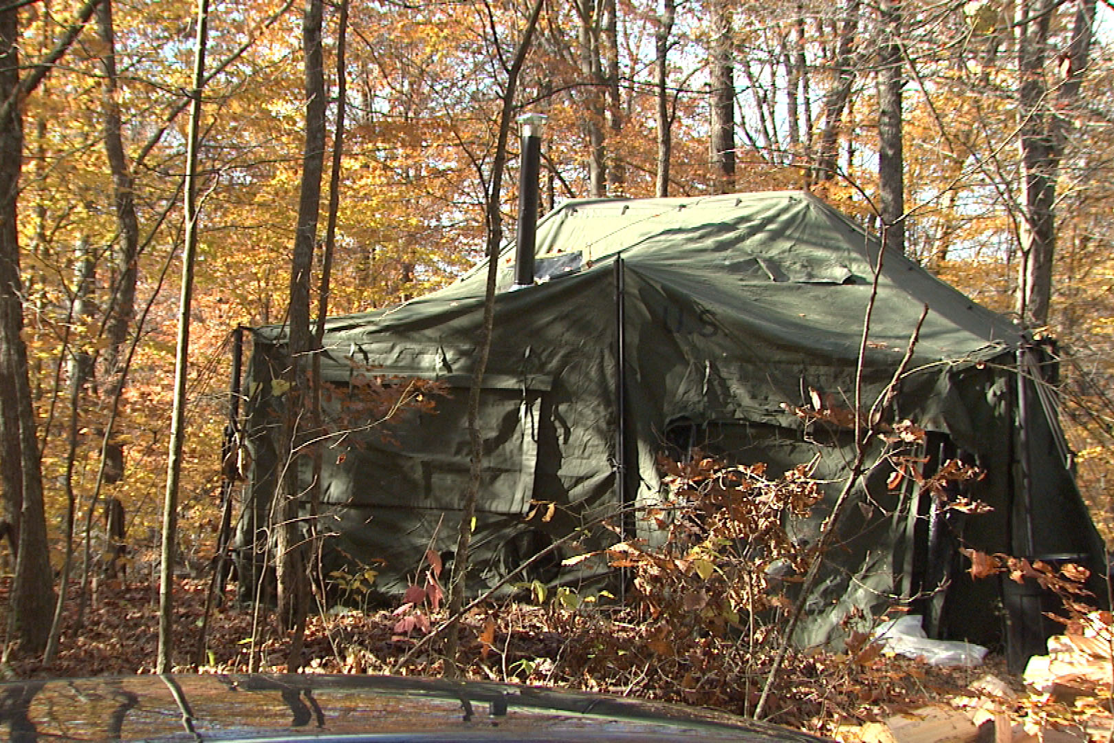 The tents are setup on private property not far from the planned logging area.