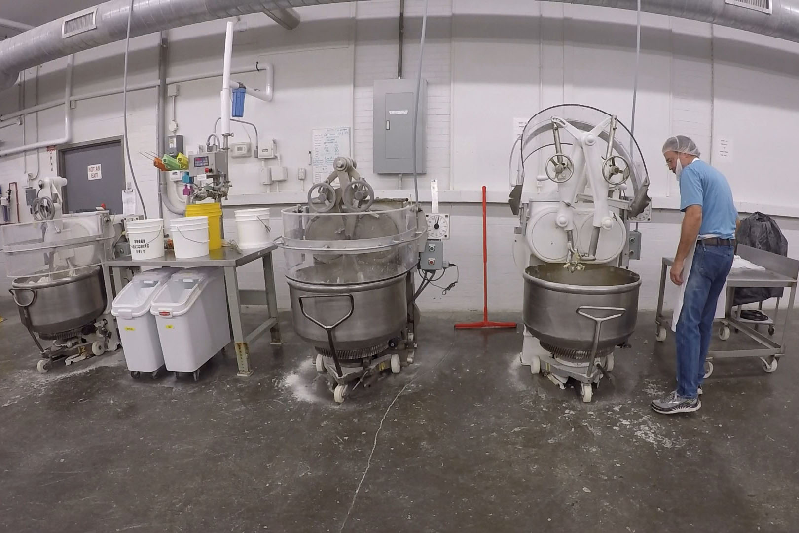 Wick's Pies uses large mixers to emulate how home cooks would mix their pie crusts by hand.