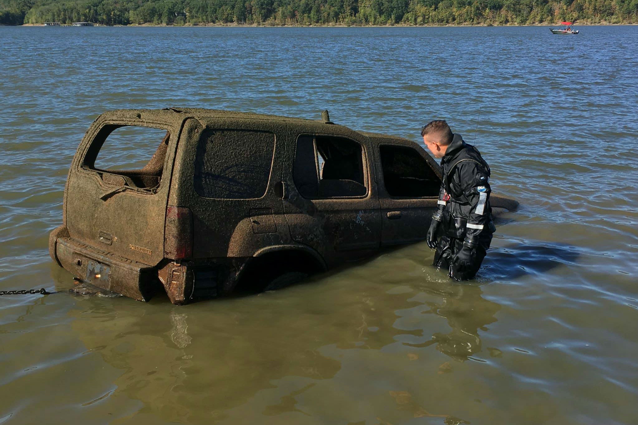 pulling car out of lake
