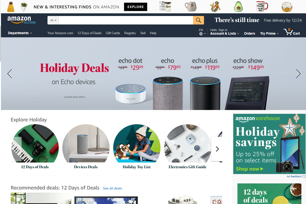 Amazon.com screenshot december 2017