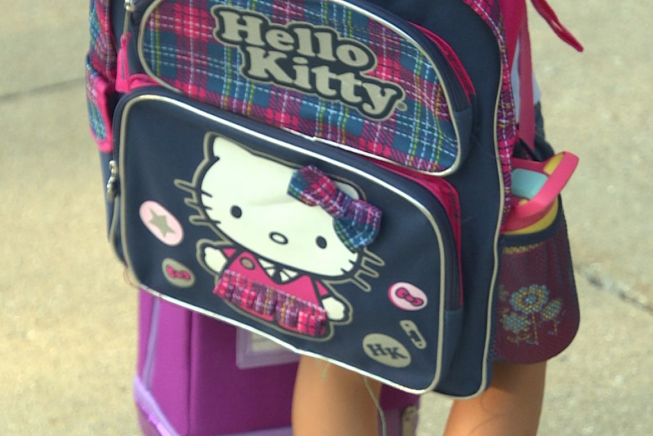 Child wearing a Hello Kitty backpack