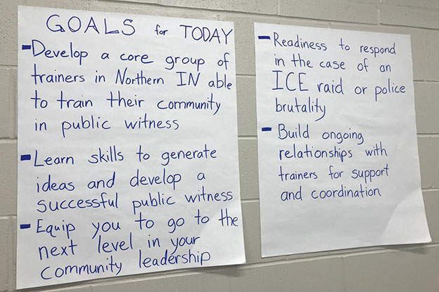 Goals during the protest seminar hosted by the Elkhart-Goshen Sanctuary Coalition.