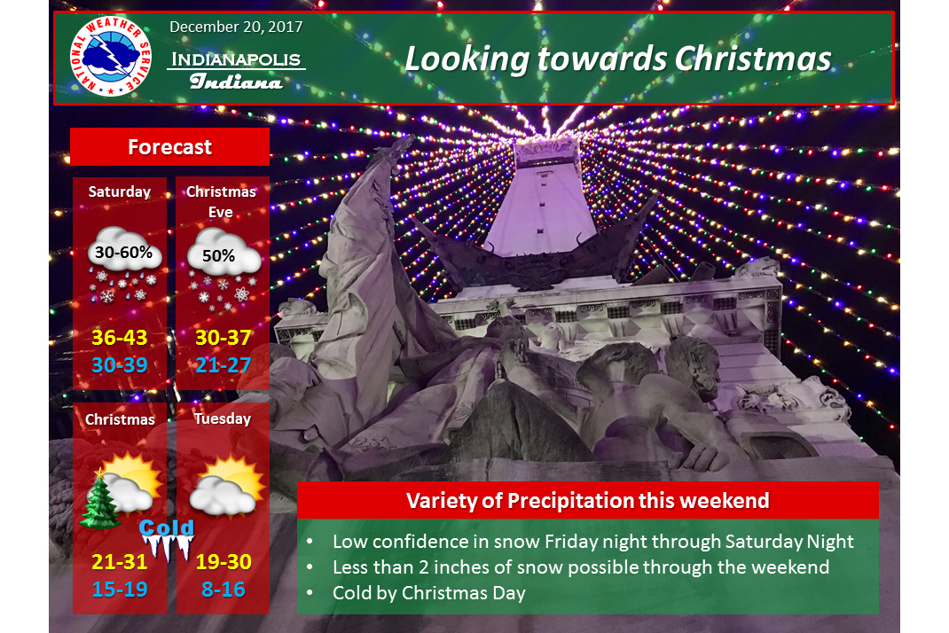 Much colder air and snow accumulation are possible for the weekend just before Christmas.
