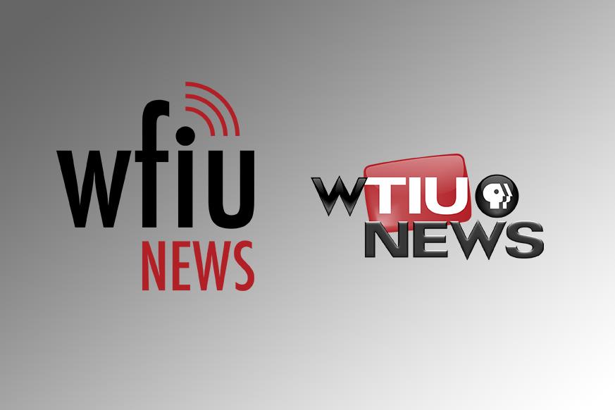 WFIU News logo and WTIU news logo on a gray to white gradient background.