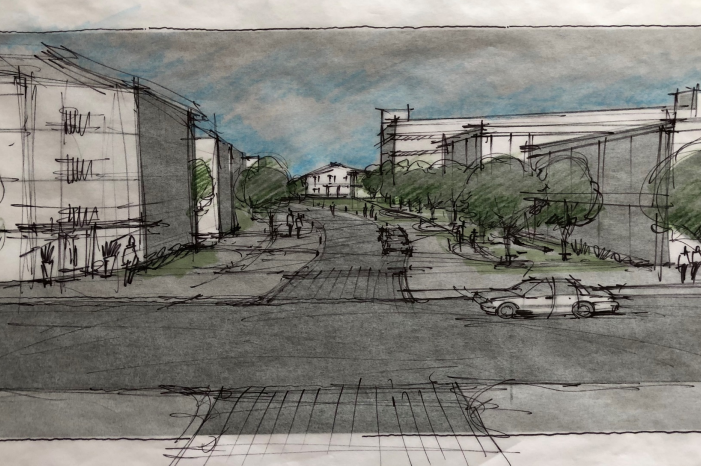 """A view from S. Rogers street at what the panel called a """"living street. """"(Urban Land Institute)"""