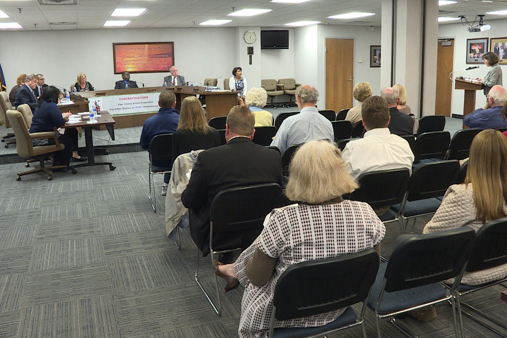 The Vigo County School Board did not take action on a proposal to bus students to their polling places at Monday night's meeting (Barbara Brosher, WFIU/WTIU News).