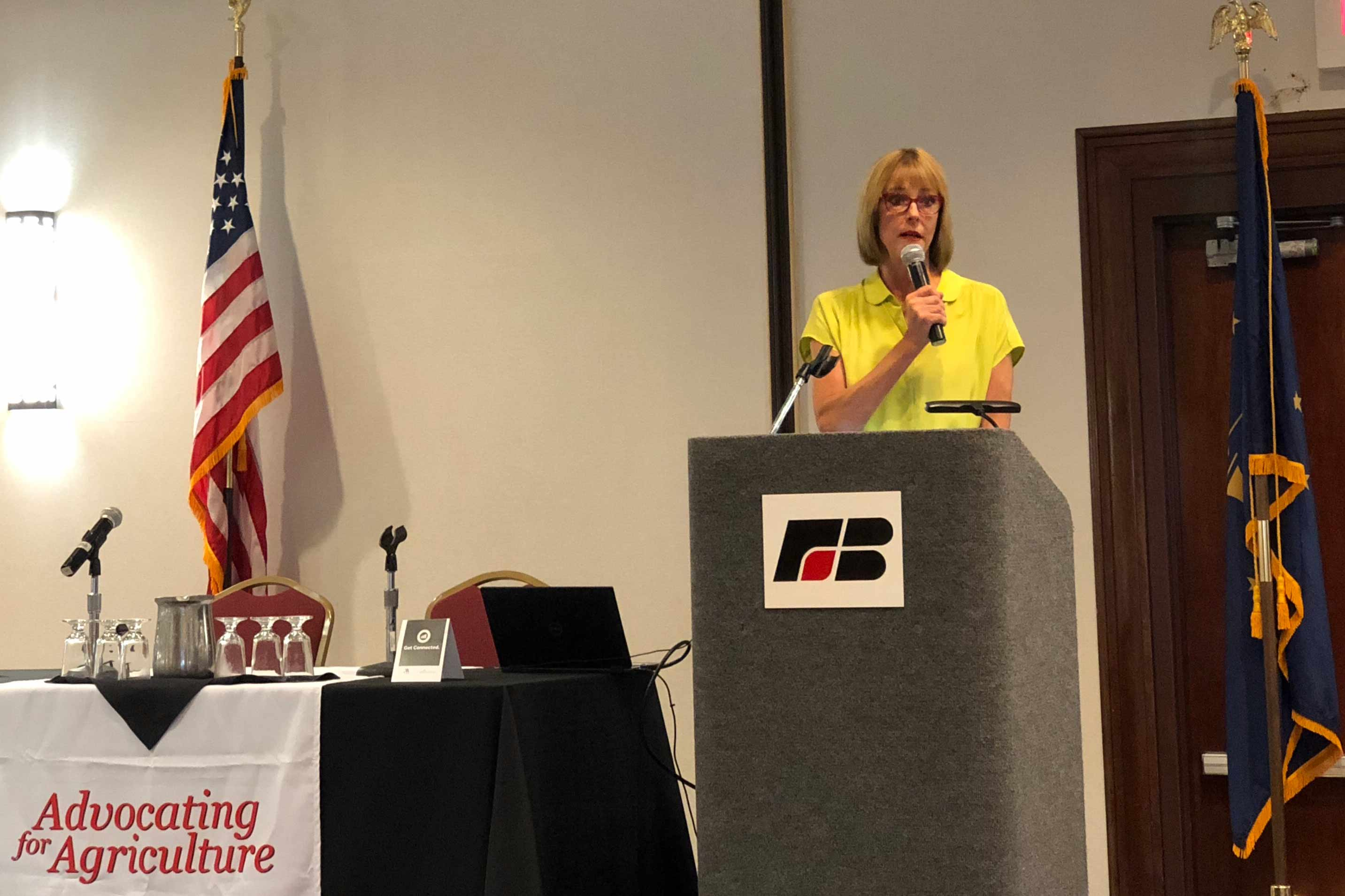 Lt. Gov. Suzanne Crouch speaks during the session about the state's dedication to rural areas and challenges they face.(Brock Turner, WFIU/WTIU News)