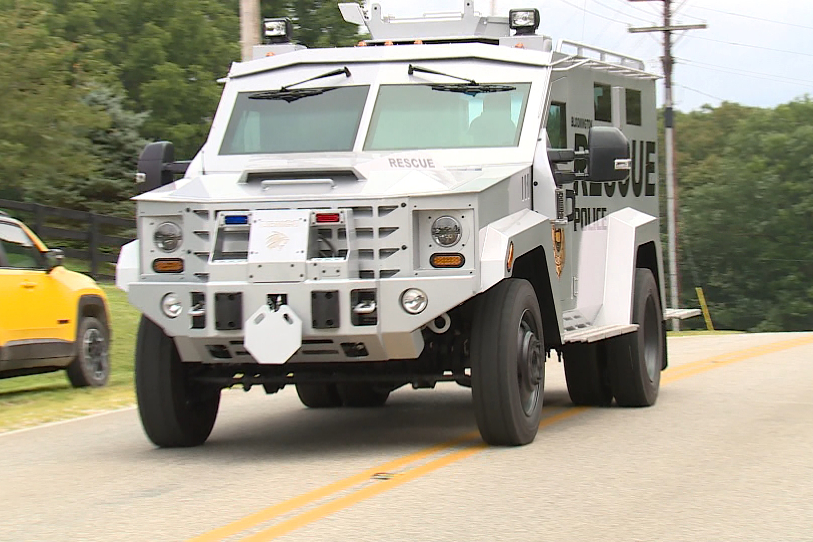 Police say the armored vehicle helped protect a negotiator during the call (Steve Burns, WFIU/WTIU News).