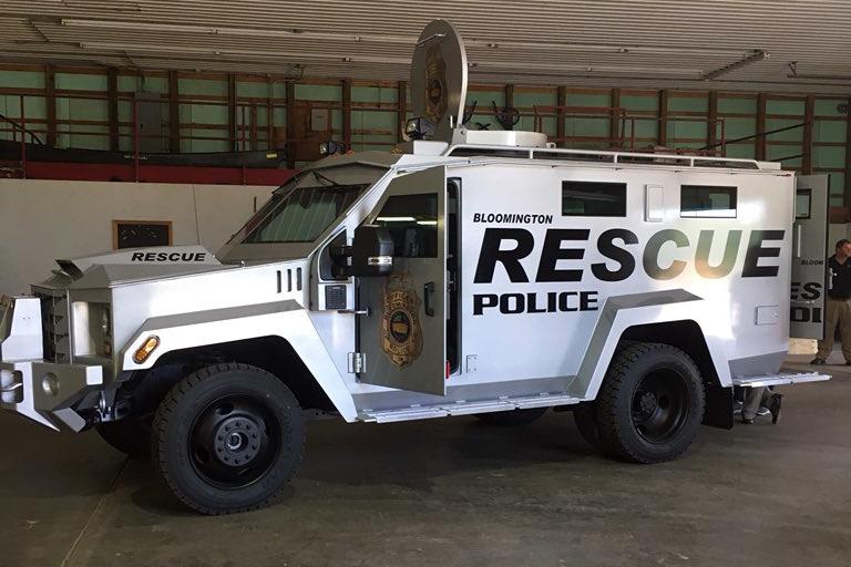 Bloomington Police's armored vehicle is a Lenco Bearcat (Alex Eady, WFIU/WTIU News)