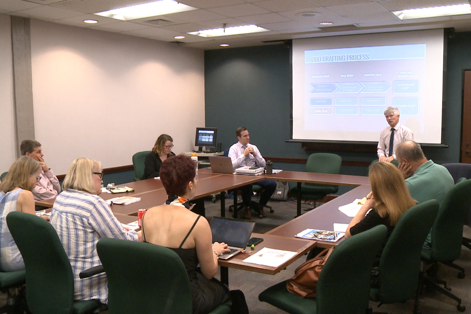 City officials discuss student housing, downtown development at a UDO planning meeting. (Tyler lake, WTIU/WFIU News)