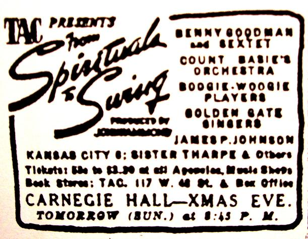 An advertisement for one of the From Spirituals To Swing concerts.