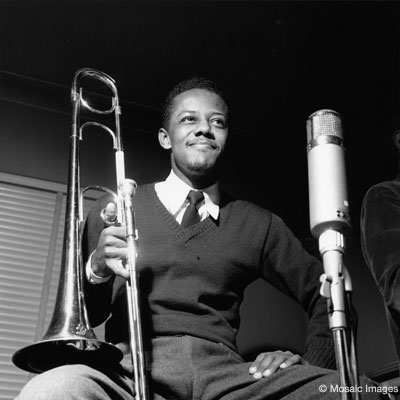 Photo of trombonist Slide Hampton