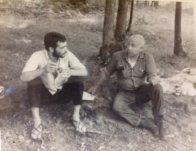 Photo of jazz musician Dick Sisto and writer Thomas Merton.
