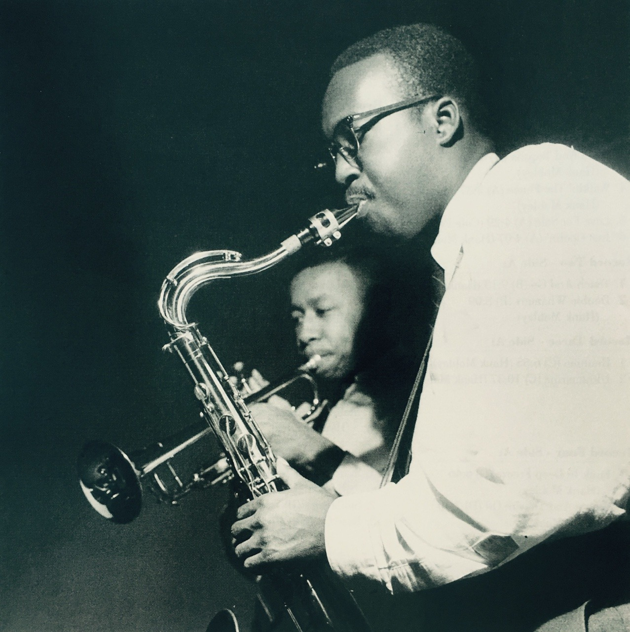 Trumpeter Lee Morgan and saxophonist Hank Mobley recording for the album PECKIN' TIME in 1958.  (Photo by Francis Wolff)