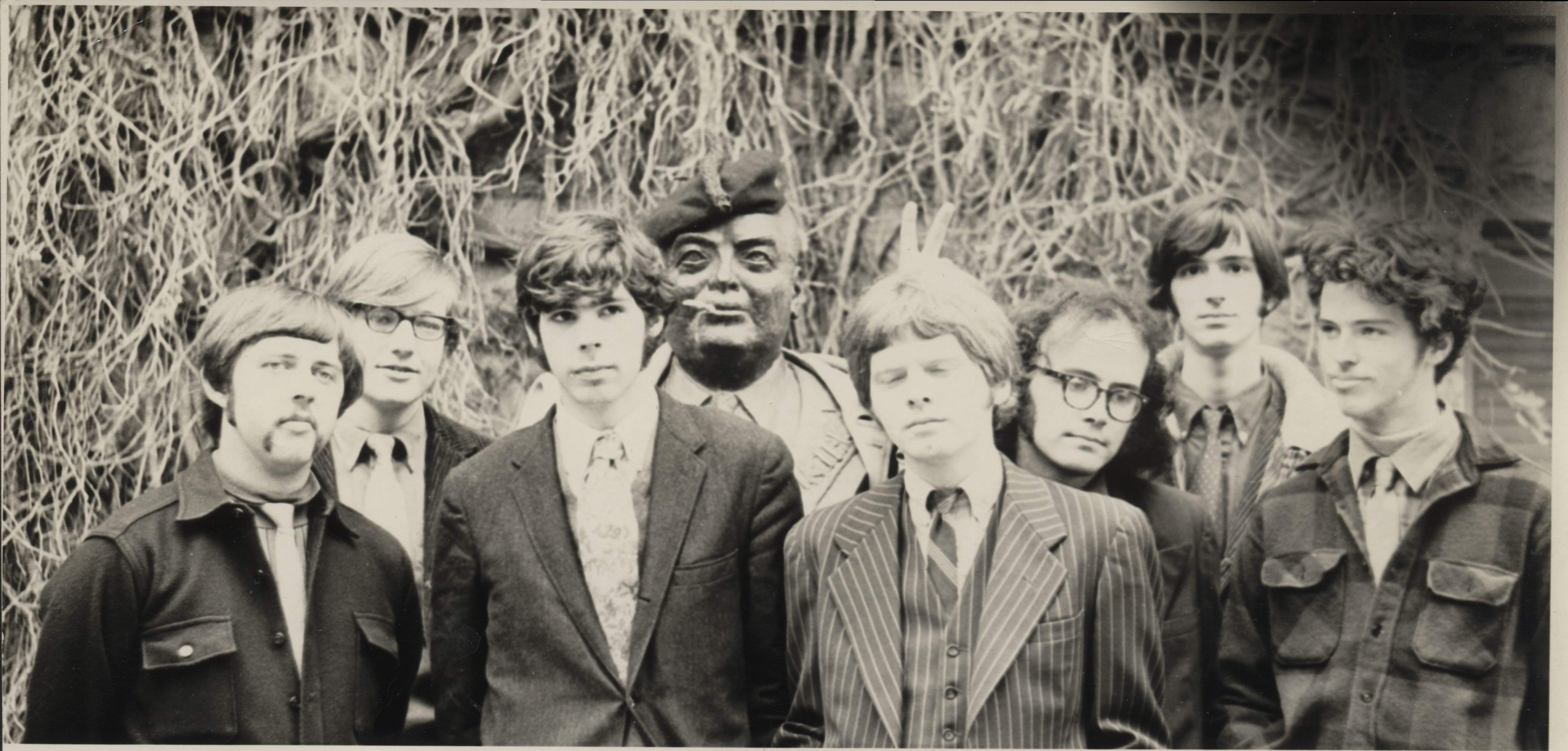 A late-1960s publicity photo for Mrs. Seaman's Sound Band.  Michael Brecker is second on the right.  The bust of Indiana University chancellor Herman B. Wells has received a festive countercultural makeover.  (Photo courtesy of William Paterson University's Brecker Archive, donated by Randy Sandke.)