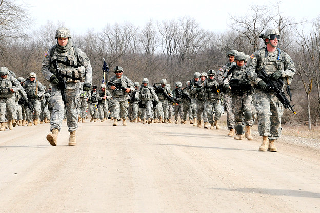 Soldiers marching at Camp Atterbury Joint Maneuver Training Center